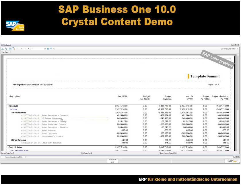 SAP Business One Crystal Content Demo